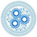 Blue round flower embroidery design