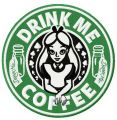 Drink me coffee embroidery design