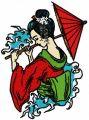 Sad geisha embroidery design