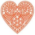 Heart lace decoration embroidery design