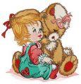 Girl calms down bunny embroidery design