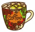 Decorated coffee cup embroidery design