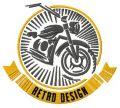 Bike retro design badge embroidery design