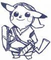 Pikachu blue warrior embroidery design