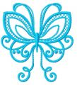 Blue swirl butterfly embroidery design