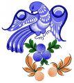 Blue firebird embroidery design