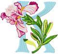 Iris Letter K embroidery design