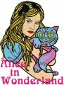 Alice and Cheshire cat embroidery design