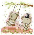 Teddy bear's wedding embroidery design