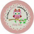Cute owl doily embroidery design