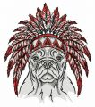 Bulldog with warbonnet embroidery design