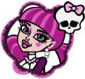 Monster High Draculaura badge embroidery design