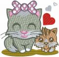 Cat's family embroidery design