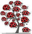 Ladybug tree embroidery design