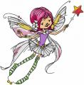 Flying fairy with magic wand embroidery design