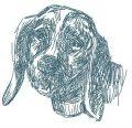 Sad dog embroidery design