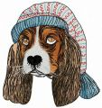 Puppy in nightcap embroidery design