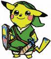 Pikachu warrior embroidery design