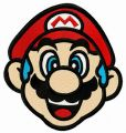 Blue-haired Mario embroidery design
