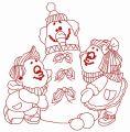 Children making snowman 2 embroidery design