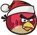 Angry birds Christmas logo embroidery design