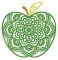 Green ripe apple embroidery design