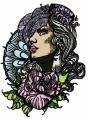 Lady in hat with veil and umbrella embroidery design