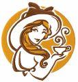 Lady's coffee break 3 embroidery design