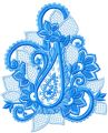 Blue Flower Lace  embroidery design