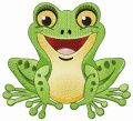 Laughing frog embroidery design