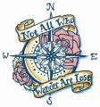 Compass with motto embroidery design