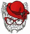 Terrier in red hat embroidery design