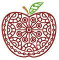 Apple with circle ornament embroidery design
