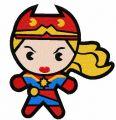 Chibi Captain Marvel embroidery design