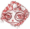 Dead beauty face embroidery design