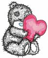 Teddy bear with a pillow in the form of heart applique embroidery design