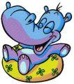 Hippo's summer fun embroidery design