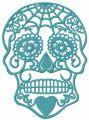 Swirl skull embroidery design