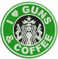 I love guns and coffee embroidery design