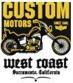 Custom Motors badge embroidery design