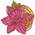 Pink daffodil embroidery design