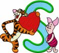 Tigger with heart and Piglet Alphabet Letter S embroidery design