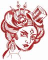 Adherent of devil embroidery design