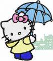 Hello Kitty Rainy Day embroidery design