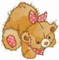 Teddy bear with polka dot bib embroidery design