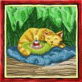 Christmas Cat sleep embroidery design