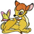 Bambi and butterfly  embroidery design