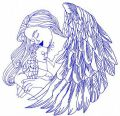 Angel with newborn 3 embroidery design