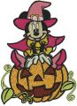 Minnie Mouse with huge pumpkin embroidery design