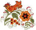 Firebird and flower embroidery design